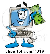 Desktop Computer Mascot Cartoon Character Holding A Dollar Bill
