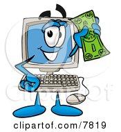 Desktop Computer Mascot Cartoon Character Holding A Dollar Bill