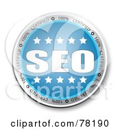 Royalty Free RF Clipart Illustration Of A Blue SEO Button With Stars by MacX