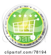 Royalty Free RF Clipart Illustration Of A Green Shopping Cart Website Button With Stars by MacX