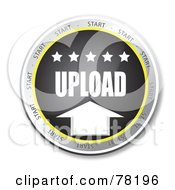 Royalty Free RF Clipart Illustration Of A Black Upload Website Button With Stars by MacX