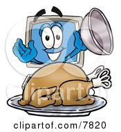 Clipart Picture Of A Desktop Computer Mascot Cartoon Character Serving A Thanksgiving Turkey On A Platter by Toons4Biz