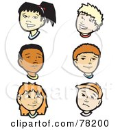 Royalty Free RF Clipart Illustration Of A Digital Collage Of Girl And Boy Faces by xunantunich