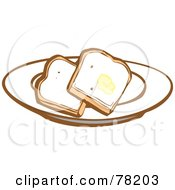 Royalty Free RF Clipart Illustration Of Two Slices Of White Bread Toast With Butter On A Plate by xunantunich