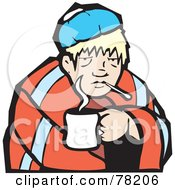 Royalty Free RF Clipart Illustration Of A Sick Blond Man Cuddled With A Cup Of Tea And A Blanket by xunantunich