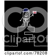 Poster, Art Print Of Stick People English Man Standing On Top Of The Letter E Over Black