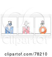 Digital Collage Of Stick People Character Letters M Through O