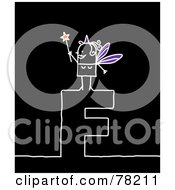 Royalty Free RF Clipart Illustration Of A Stick People Fairy Godmother Standing On Top Of The Letter F Over Black by NL shop