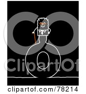 Poster, Art Print Of Stick People Old Man Standing On Top Of The Letter O Over Black