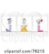 Poster, Art Print Of Digital Collage Of Stick People Character Letters J Through L