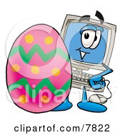 Clipart Picture Of A Desktop Computer Mascot Cartoon Character Standing Beside An Easter Egg