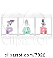 Digital Collage Of Stick People Character Letters P Through R