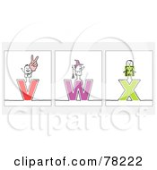 Poster, Art Print Of Digital Collage Of Stick People Character Letters V Through X