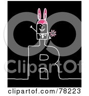 Poster, Art Print Of Stick People Rabbit Man Standing On Top Of The Letter R Over Black