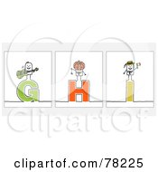 Royalty Free RF Clipart Illustration Of A Digital Collage Of Stick People Character Letters G Through I by NL shop