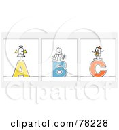 Royalty Free RF Clip Art Illustration Of A Digital Collage Of Stick People Character Letters A Through C