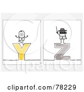Royalty Free RF Clipart Illustration Of A Digital Collage Of Stick People Character Letters Y Through Z by NL shop