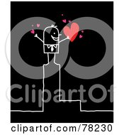 Poster, Art Print Of Stick People Love Man Standing On Top Of The Letter L Over Black