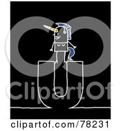 Stick People Unicorn Standing On Top Of The Letter U Over Black
