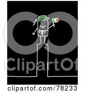 Poster, Art Print Of Stick People Italian Man Standing On Top Of The Letter I Over Black
