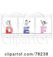 Digital Collage Of Stick People Character Letters D Through F