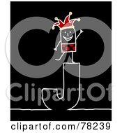 Royalty Free RF Clipart Illustration Of A Stick People Joker Standing On Top Of The Letter J Over Black