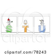 Digital Collage Of Stick People Character Letters S Through U