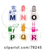 Royalty Free RF Clipart Illustration Of A Digital Collage Of Colorful Stick People Alphabet Letters M Through R by NL shop