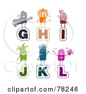 Poster, Art Print Of Digital Collage Of Colorful Stick People Alphabet Letters G Through L