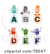 Royalty Free RF Clipart Illustration Of A Digital Collage Of Colorful Stick People Alphabet Letters A Through F by NL shop