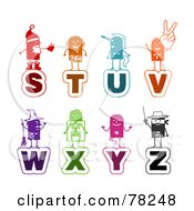 Digital Collage Of Colorful Stick People Alphabet Letters S Through Z