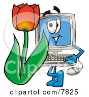 Desktop Computer Mascot Cartoon Character With A Red Tulip Flower In The Spring
