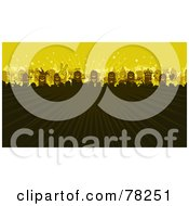 Royalty Free RF Clipart Illustration Of A Stick People Party Concert Crowd With Rays Of Light On Yellow by NL shop