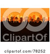 Royalty Free RF Clipart Illustration Of A Stick People Halloween Party Concert Crowd With Rays Of Light On Orange