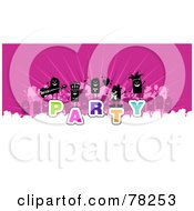 Royalty Free Rf Clipart Illustration Of A Stick People Crowd On The Word Party Over White And Pink by NL shop