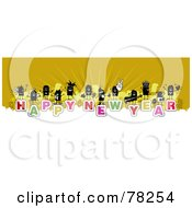 Stick People Crowd On The Words Happy New Year Over White And Yellow