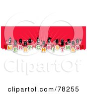 Royalty Free Rf Clipart Illustration Of A Stick People Crowd On The Words Merry Christmas Over White And Red