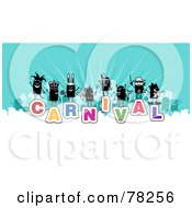 Stick People Crowd On The Word Carnival Over White And Blue