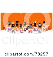 Royalty Free RF Clipart Illustration Of A Stick People Crowd On The Word Halloween Over White And Orange