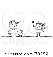 Royalty Free RF Clipart Illustration Of A Stick People Unicorn Devil And Fairy