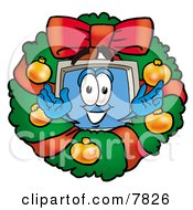 Desktop Computer Mascot Cartoon Character In The Center Of A Christmas Wreath