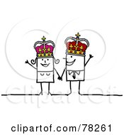 Royalty Free RF Clipart Illustration Of A Stick People King And Joker