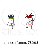 Royalty Free RF Clipart Illustration Of A Stick People King And Joker by NL shop