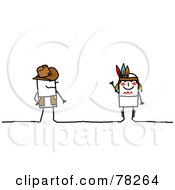 Royalty Free RF Clipart Illustration Of A Stick People Cowboy And Indian
