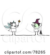 Royalty Free RF Clipart Illustration Of A Stick People Fairy Facing A Witch