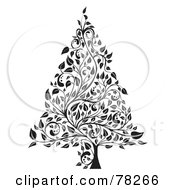 Royalty Free RF Clipart Illustration Of A Black And White Elegant Floral Vine Christmas Tree by MilsiArt
