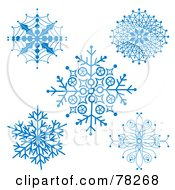 Royalty Free RF Clipart Illustration Of A Digital Collage Of Ornate Blue Winter Christmas Snowflakes by MilsiArt