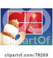 Royalty Free RF Clipart Illustration Of A Snowman Peering Into A Window With A Shining Christmas Tree by MilsiArt