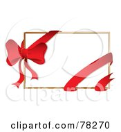 Royalty Free RF Clipart Illustration Of A White Gift Card With A Red Ribbon And Bow
