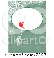 Royalty Free RF Clipart Illustration Of A Red Christmas Bird Talking In A Bubble Over A Green Christmas Bauble Background With Snowflakes by MilsiArt